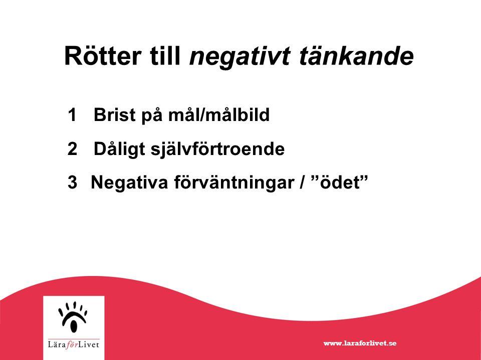 Rötter till negativt tänkande 1 Brist på mål/målbild 2 Dåligt självförtroende 3 Negativa förväntningar / ödet www.laraforlivet.se
