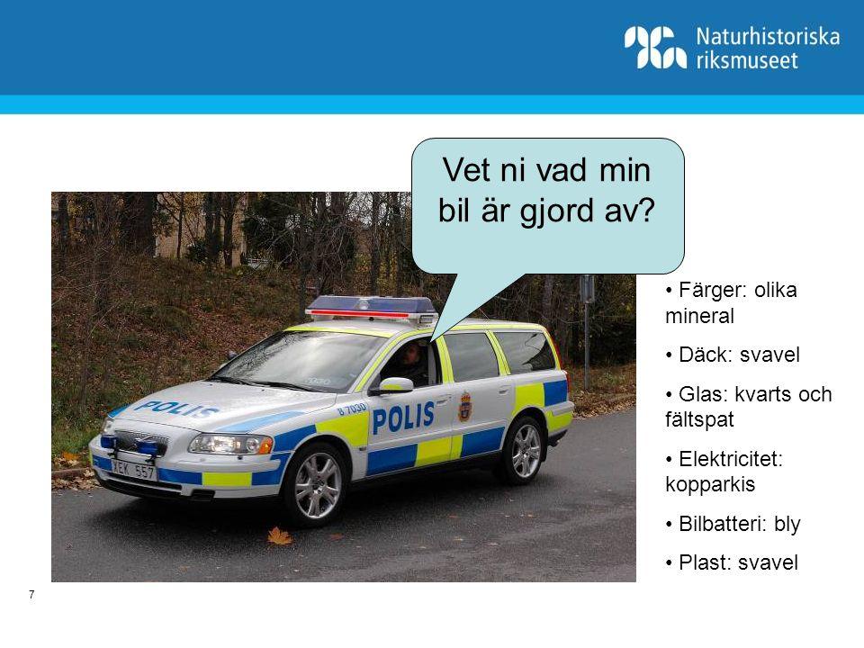 8 Bilens mineral Kopparkis - elektricitet Bly - bilbatteri Svavel – däck, plast Kvarts - glasFältspat - glas