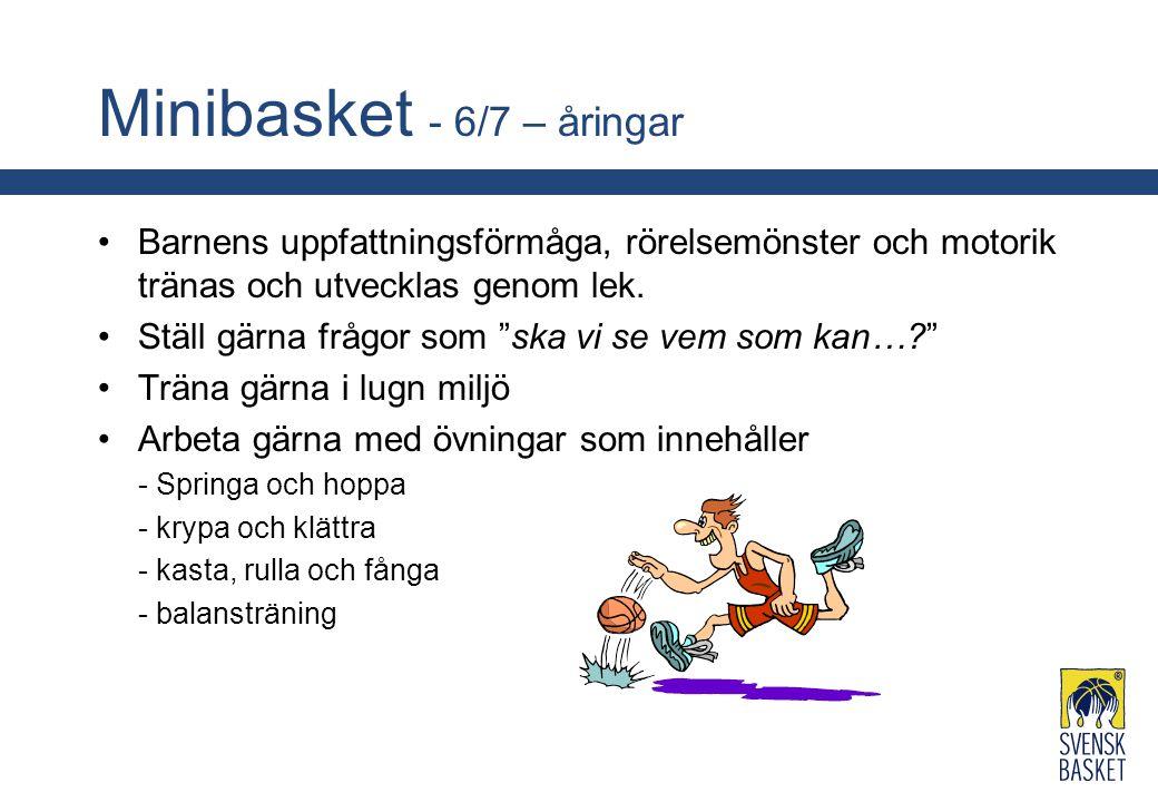 """Minibasket - 6/7 – åringar Barnens uppfattningsförmåga, rörelsemönster och motorik tränas och utvecklas genom lek. Ställ gärna frågor som """"ska vi se v"""
