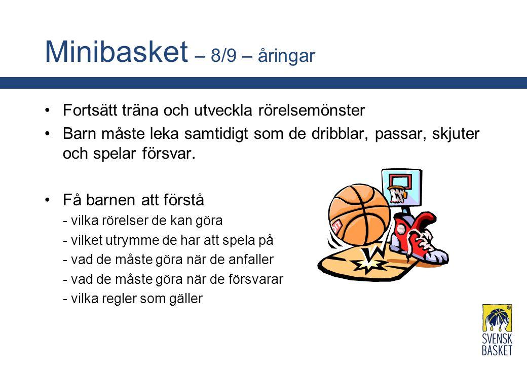 Minibasket – 8/9 – åringar Fortsätt träna och utveckla rörelsemönster Barn måste leka samtidigt som de dribblar, passar, skjuter och spelar försvar. F