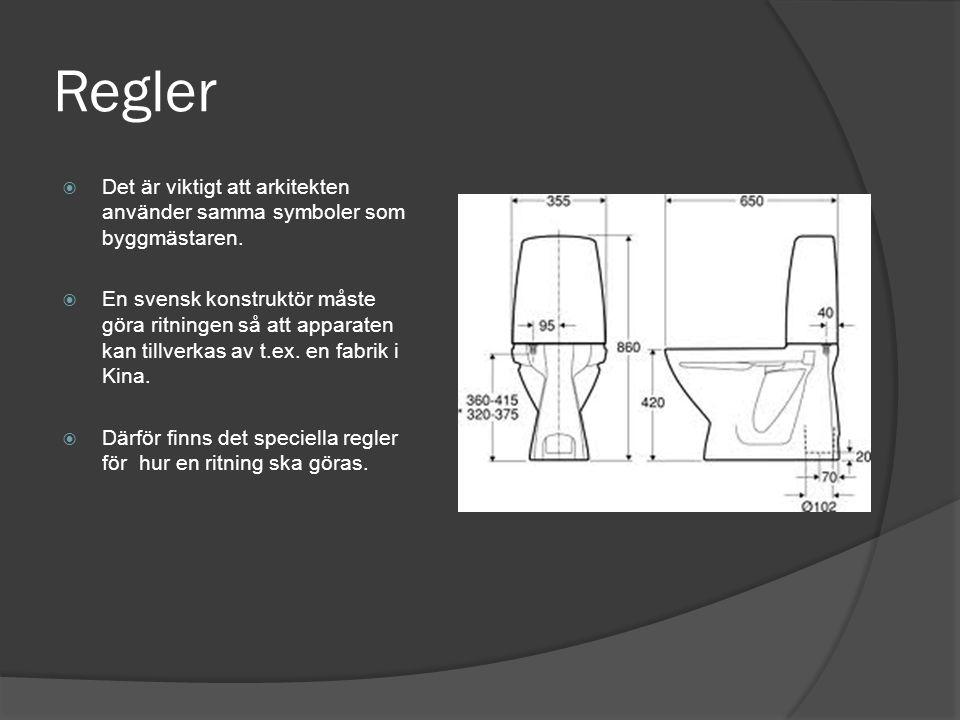 Regler  Det är viktigt att arkitekten använder samma symboler som byggmästaren.  En svensk konstruktör måste göra ritningen så att apparaten kan til