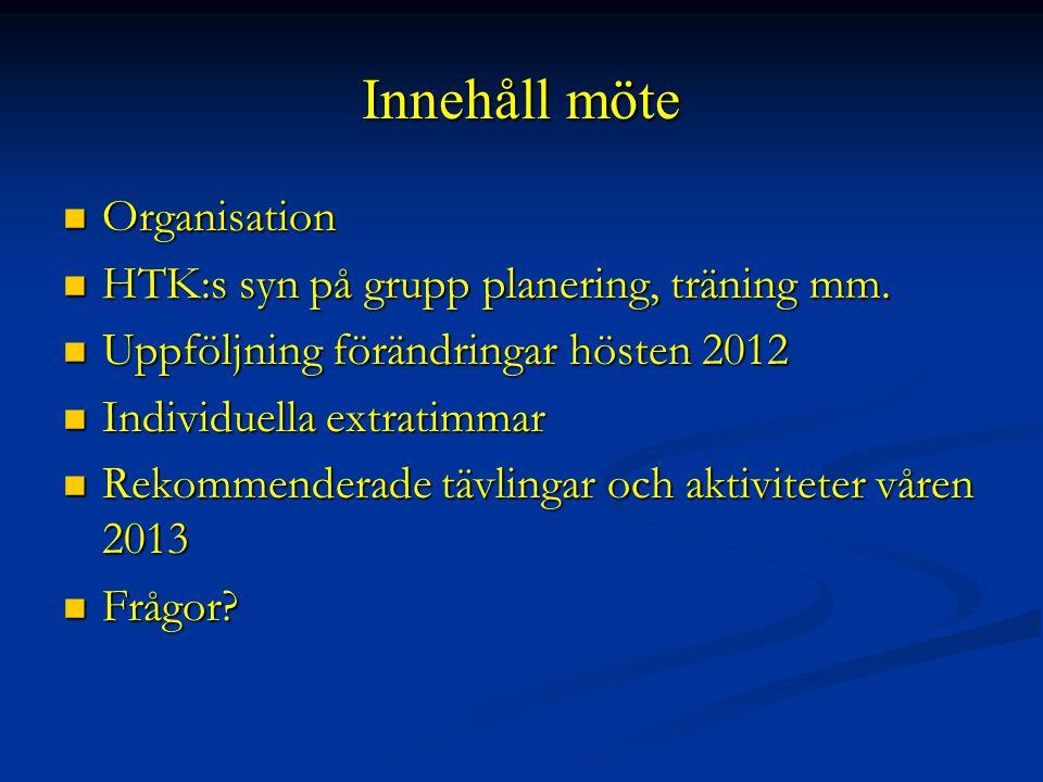 Innehåll möte Organisation Organisation HTK:s syn på grupp planering, träning mm.