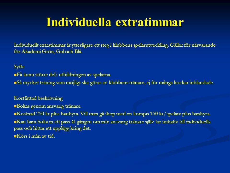 Individuella extratimmar Individuellt extratimmar är ytterligare ett steg i klubbens spelarutveckling.