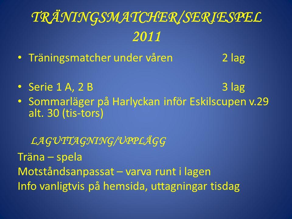 TRÄNINGSMATCHER/SERIESPEL 2011 Träningsmatcher under våren 2 lag Serie 1 A, 2 B 3 lag Sommarläger på Harlyckan inför Eskilscupen v.29 alt. 30 (tis-tor