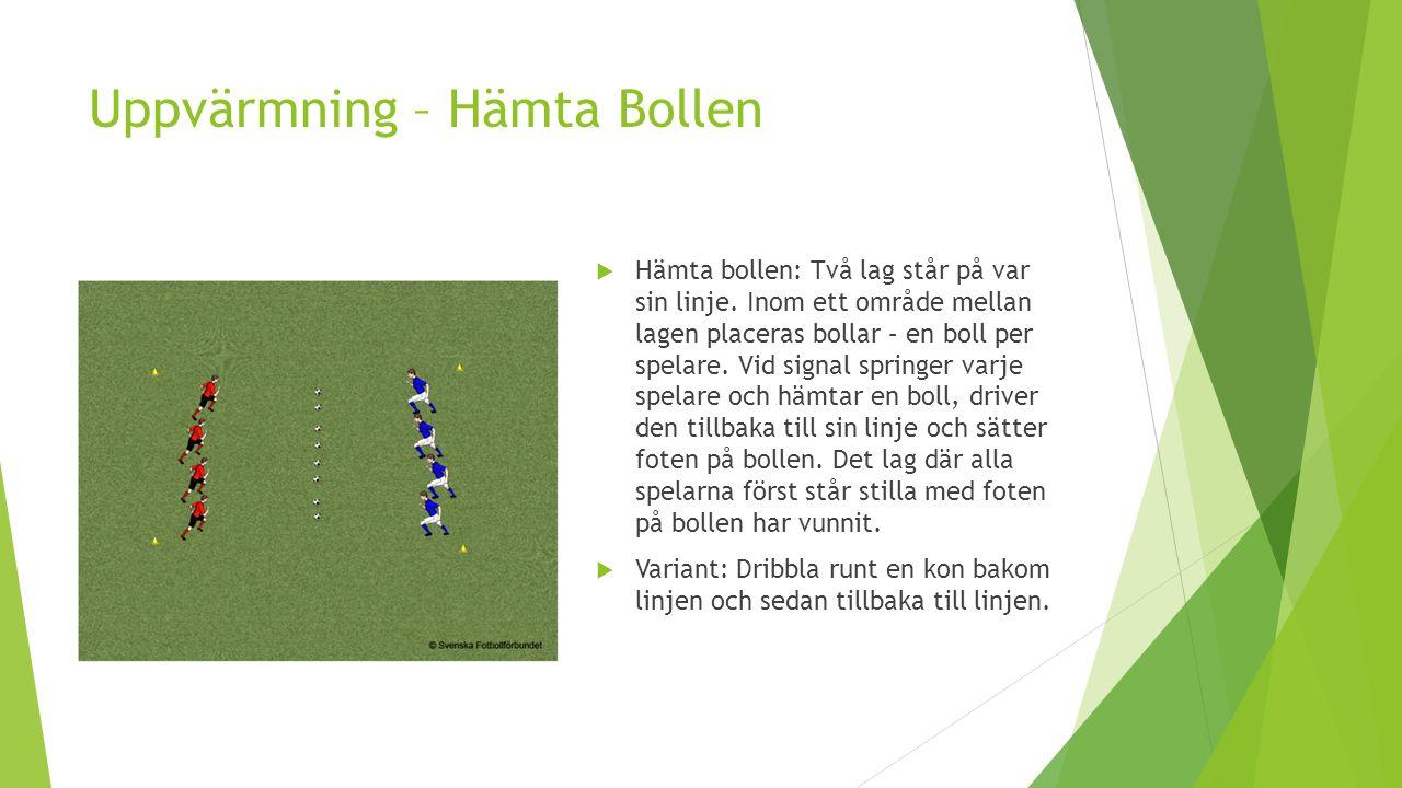 Uppvärmning – Hämta Bollen  Hämta bollen: Två lag står på var sin linje. Inom ett område mellan lagen placeras bollar – en boll per spelare. Vid sign