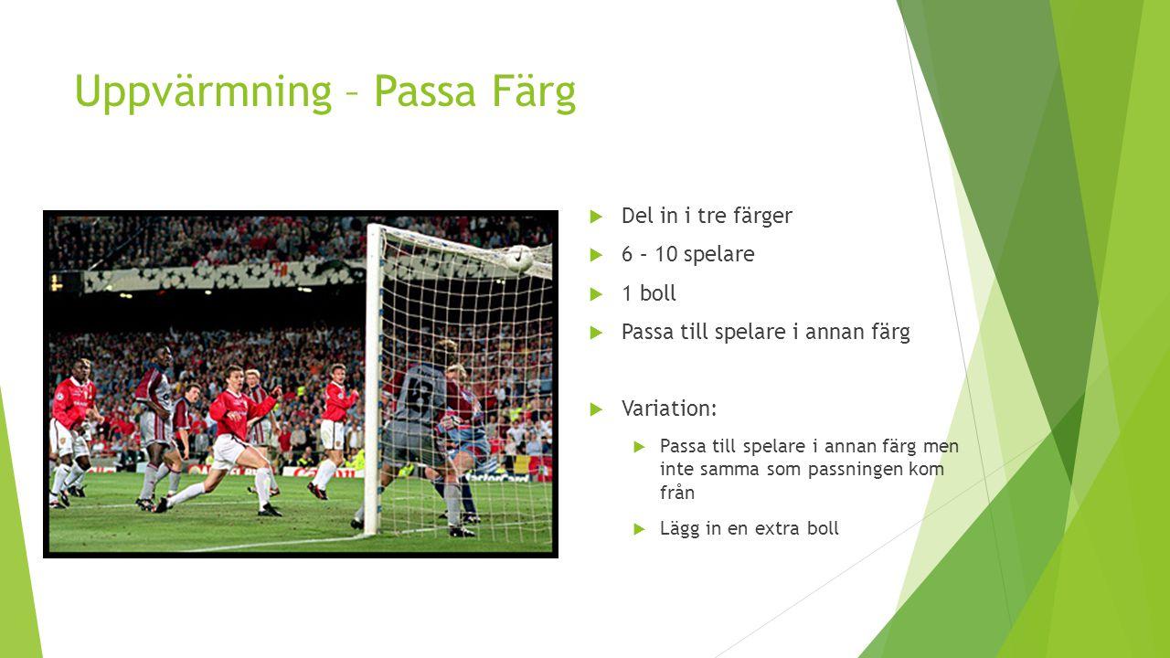 Uppvärmning – Passa Färg  Del in i tre färger  6 – 10 spelare  1 boll  Passa till spelare i annan färg  Variation:  Passa till spelare i annan f