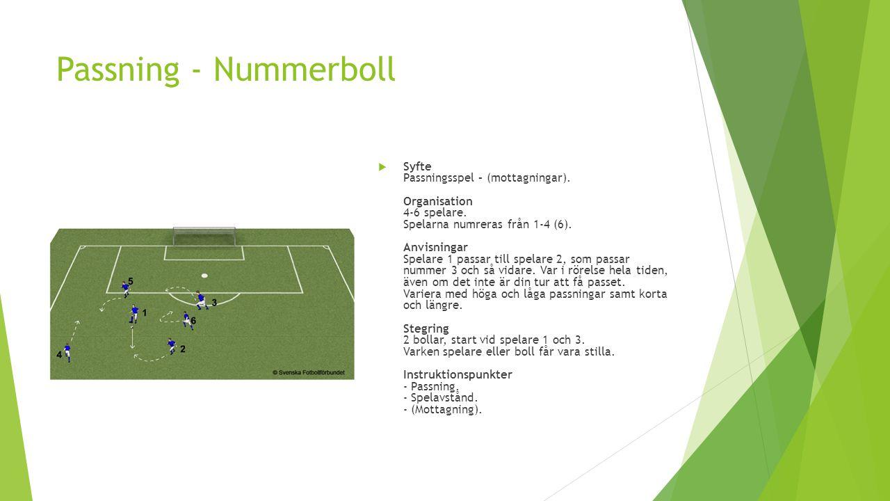 Passning - Nummerboll  Syfte Passningsspel – (mottagningar). Organisation 4-6 spelare. Spelarna numreras från 1-4 (6). Anvisningar Spelare 1 passar t
