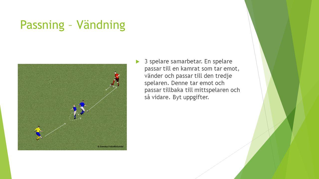 Uppvärmning – Passa Färg  Del in i tre färger  6 – 10 spelare  1 boll  Passa till spelare i annan färg  Variation:  Passa till spelare i annan färg men inte samma som passningen kom från  Lägg in en extra boll