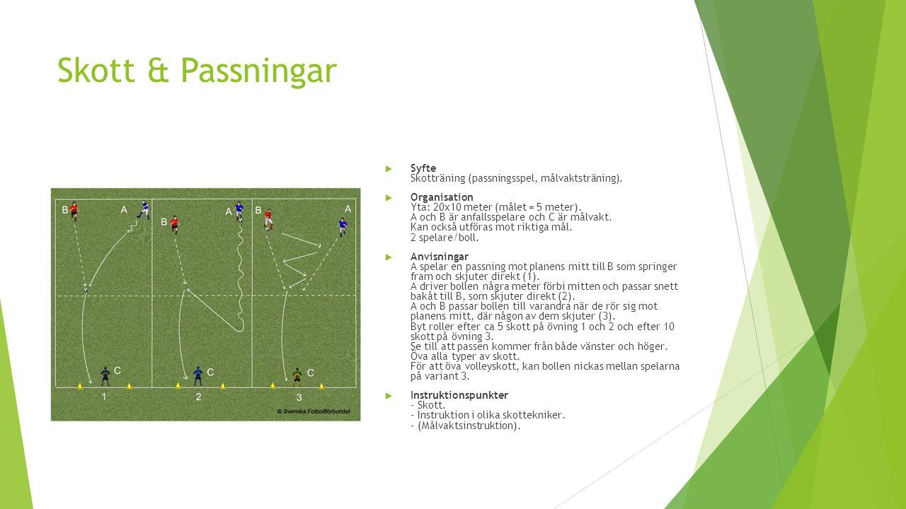 Skott & Passningar  Syfte Skotträning (passningsspel, målvaktsträning).  Organisation Yta: 20x10 meter (målet = 5 meter). A och B är anfallsspelare