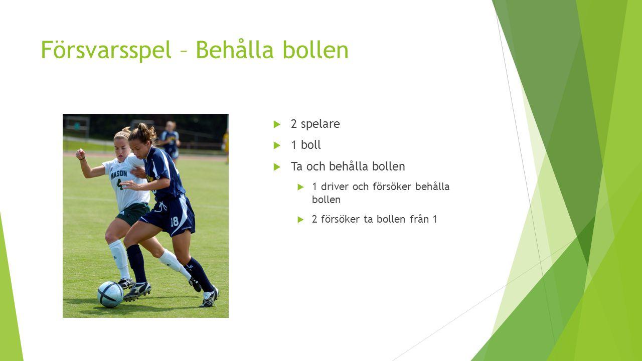 Försvarsspel – Behålla bollen  2 spelare  1 boll  Ta och behålla bollen  1 driver och försöker behålla bollen  2 försöker ta bollen från 1