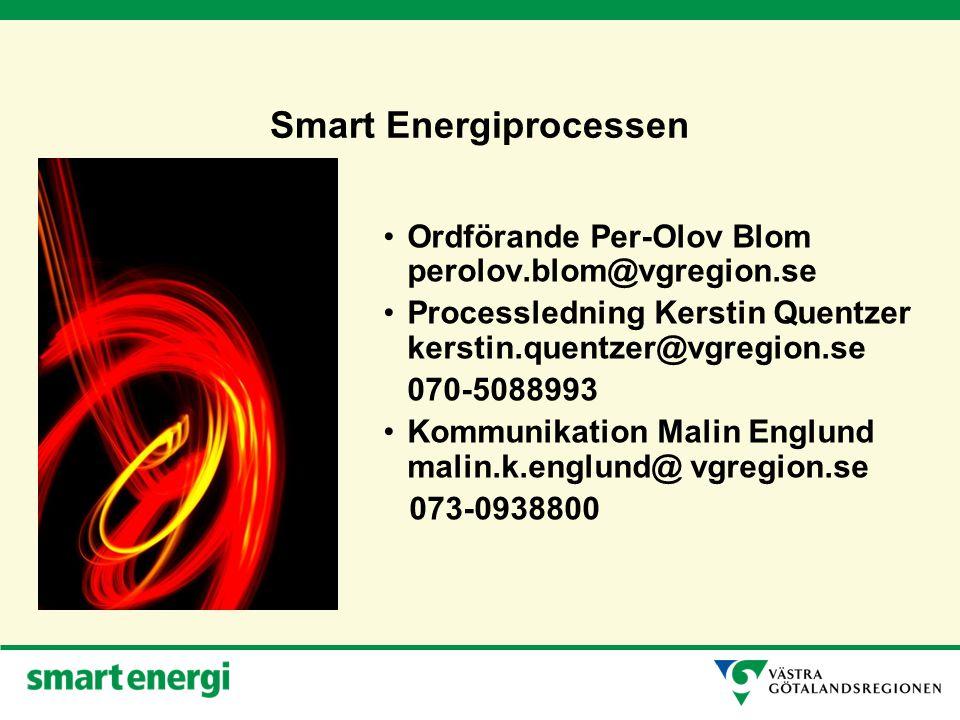 Smart Energiprocessen Ordförande Per-Olov Blom perolov.blom@vgregion.se Processledning Kerstin Quentzer kerstin.quentzer@vgregion.se 070-5088993 Kommunikation Malin Englund malin.k.englund@ vgregion.se 073-0938800