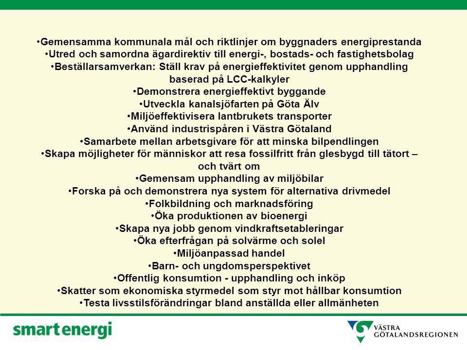 Gemensamma kommunala mål och riktlinjer om byggnaders energiprestanda Utred och samordna ägardirektiv till energi-, bostads- och fastighetsbolag Beställarsamverkan: Ställ krav på energieffektivitet genom upphandling baserad på LCC-kalkyler Demonstrera energieffektivt byggande Utveckla kanalsjöfarten på Göta Älv Miljöeffektivisera lantbrukets transporter Använd industrispåren i Västra Götaland Samarbete mellan arbetsgivare för att minska bilpendlingen Skapa möjligheter för människor att resa fossilfritt från glesbygd till tätort – och tvärt om Gemensam upphandling av miljöbilar Forska på och demonstrera nya system för alternativa drivmedel Folkbildning och marknadsföring Öka produktionen av bioenergi Skapa nya jobb genom vindkraftsetableringar Öka efterfrågan på solvärme och solel Miljöanpassad handel Barn- och ungdomsperspektivet Offentlig konsumtion - upphandling och inköp Skatter som ekonomiska styrmedel som styr mot hållbar konsumtion Testa livsstilsförändringar bland anställda eller allmänheten