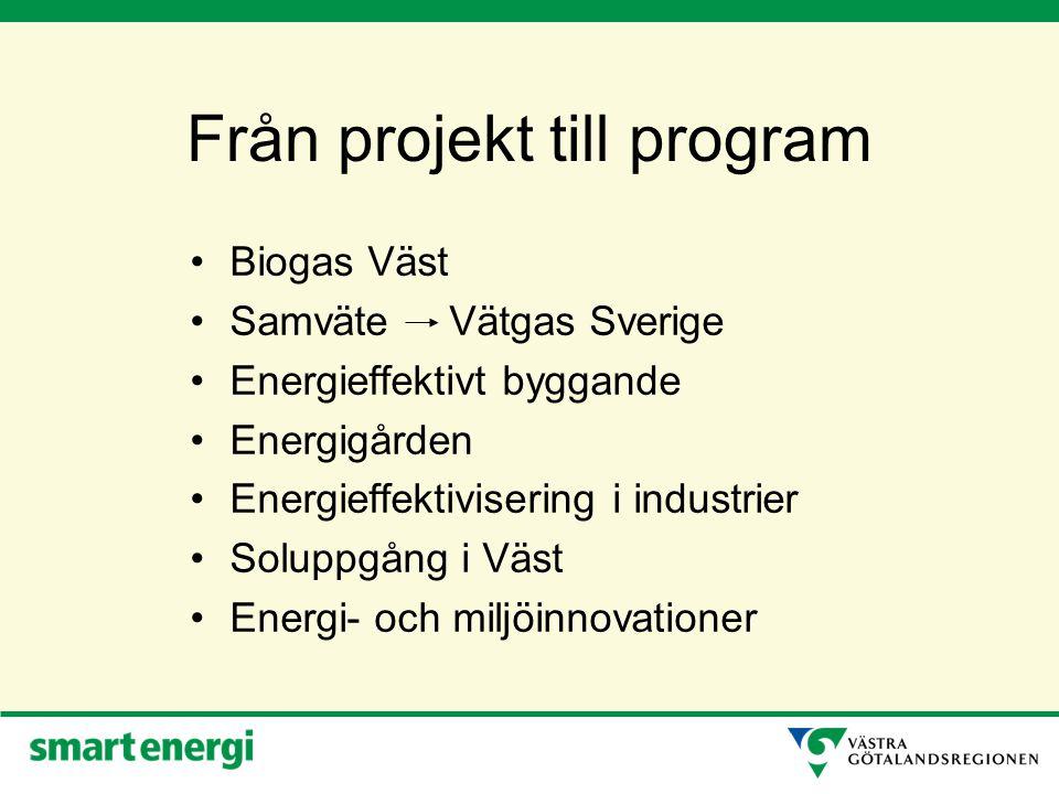 Från projekt till program Biogas Väst Samväte Vätgas Sverige Energieffektivt byggande Energigården Energieffektivisering i industrier Soluppgång i Väst Energi- och miljöinnovationer