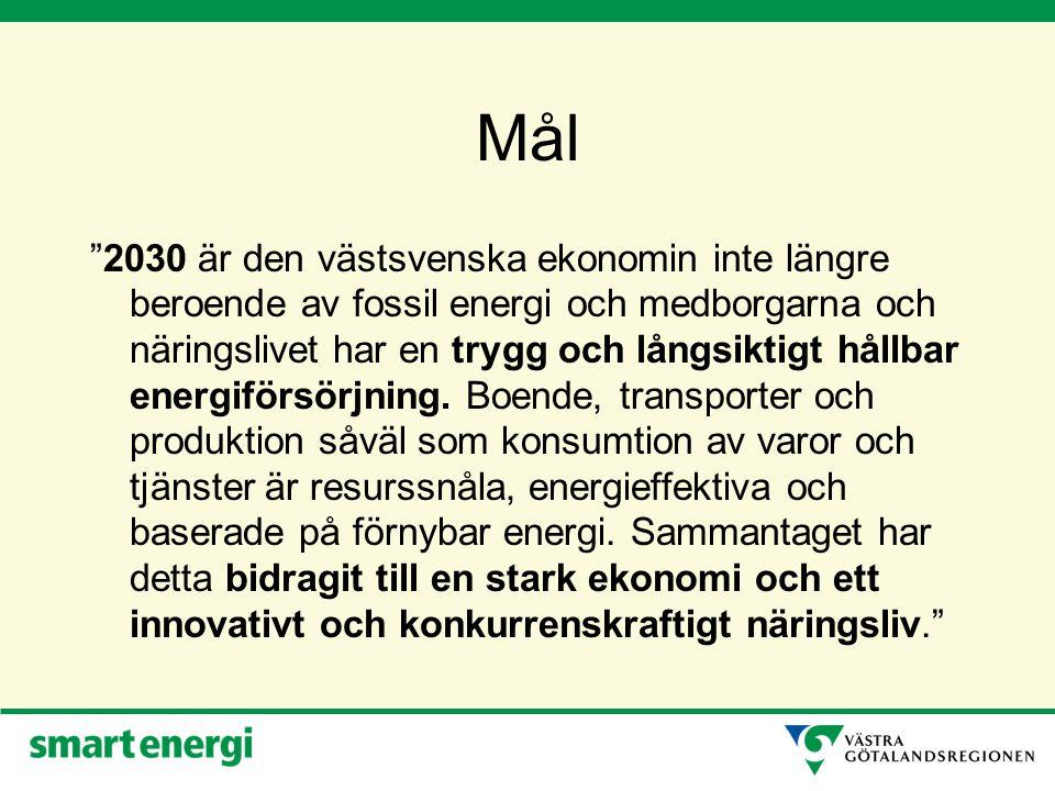 Mål 2030 är den västsvenska ekonomin inte längre beroende av fossil energi och medborgarna och näringslivet har en trygg och långsiktigt hållbar energiförsörjning.