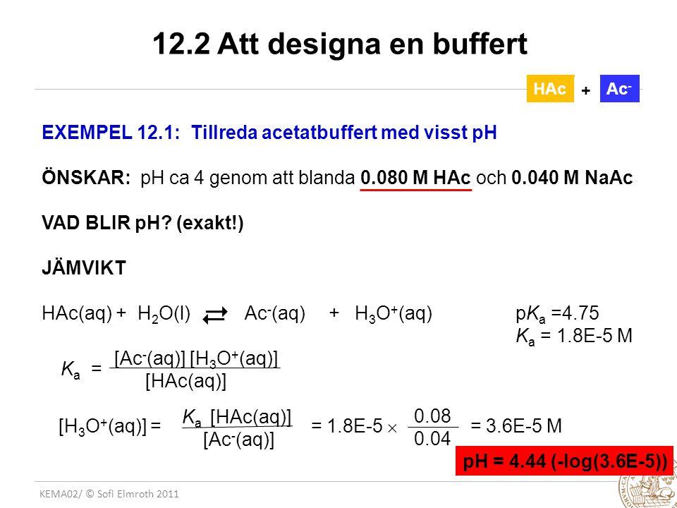 KEMA02/ © Sofi Elmroth 2011 12.2 Att designa en buffert EXEMPEL 12.1: Tillreda acetatbuffert med visst pH ÖNSKAR: pH ca 4 genom att blanda 0.080 M HAc och 0.040 M NaAc VAD BLIR pH.
