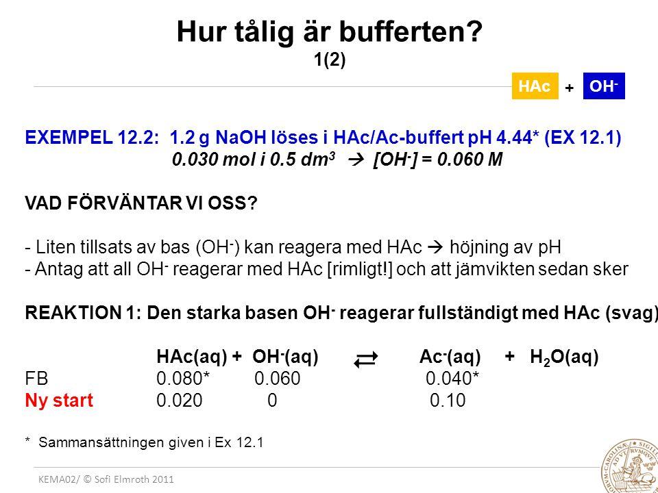 KEMA02/ © Sofi Elmroth 2011 + Hur tålig är bufferten.