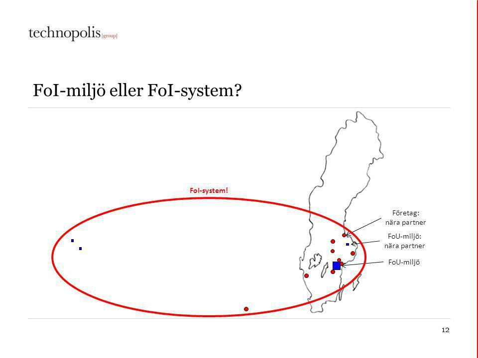 12 FoI-miljö eller FoI-system FoU-miljö FoU-miljö: nära partner Företag: nära partner FoI-system!