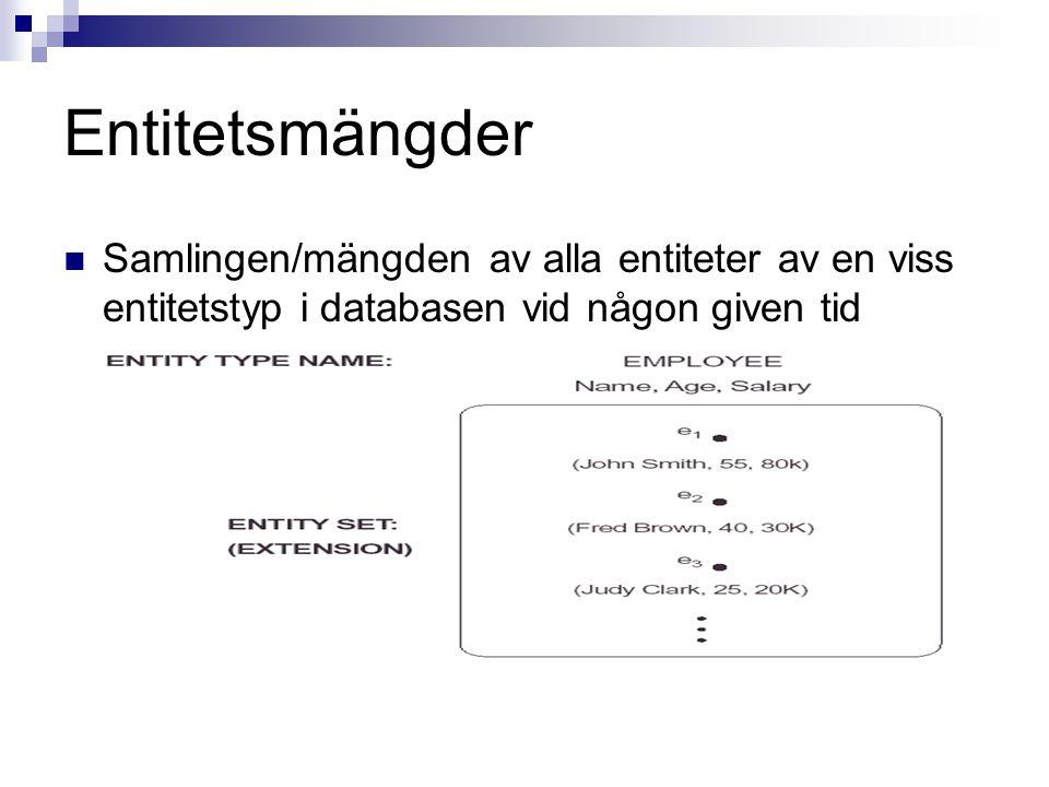 Entitetsmängder Samlingen/mängden av alla entiteter av en viss entitetstyp i databasen vid någon given tid