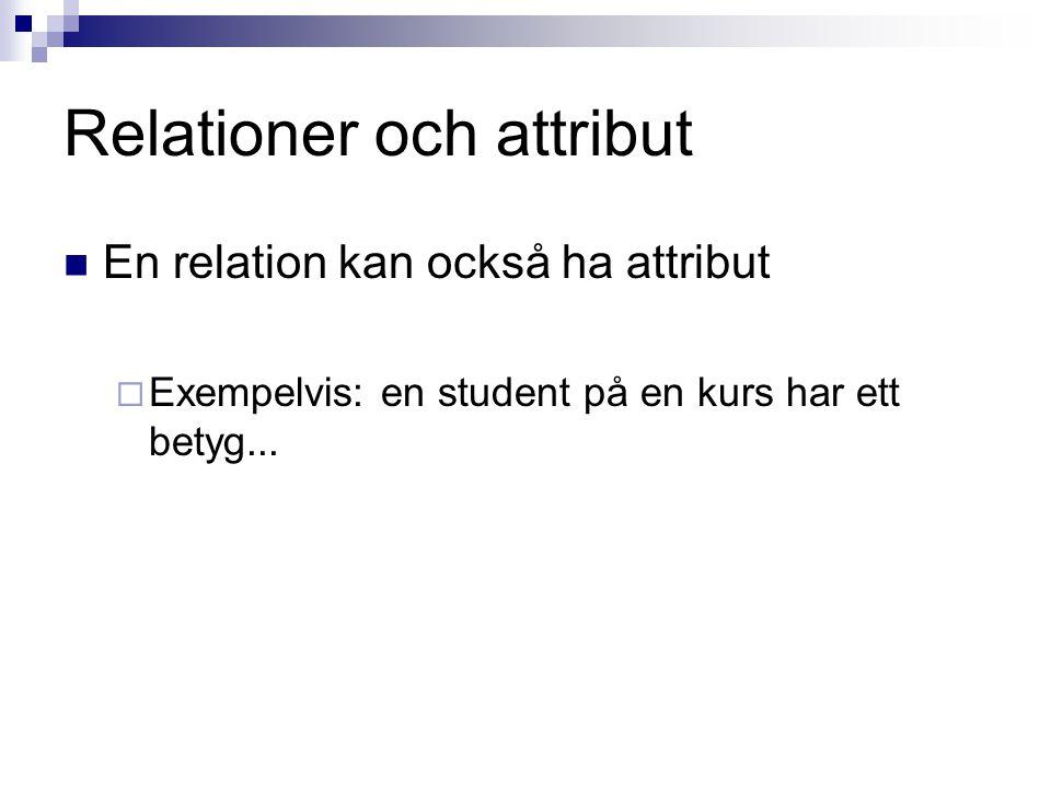Relationer och attribut En relation kan också ha attribut  Exempelvis: en student på en kurs har ett betyg...