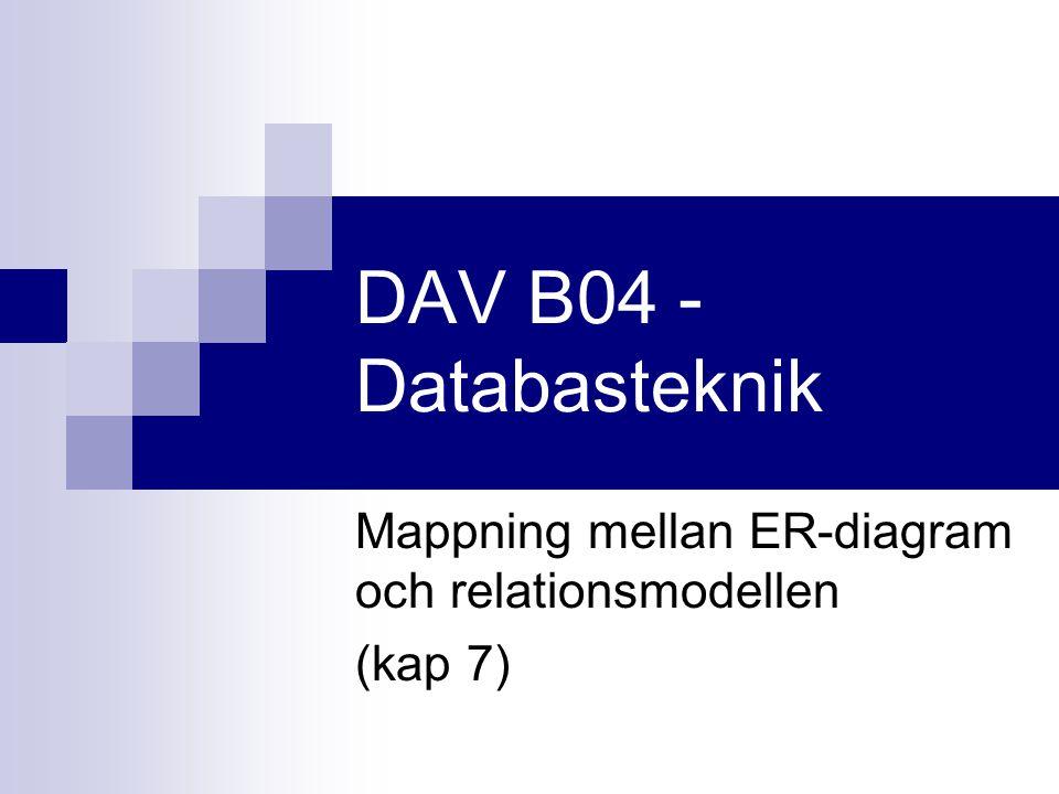 DAV B04 - Databasteknik Mappning mellan ER-diagram och relationsmodellen (kap 7)
