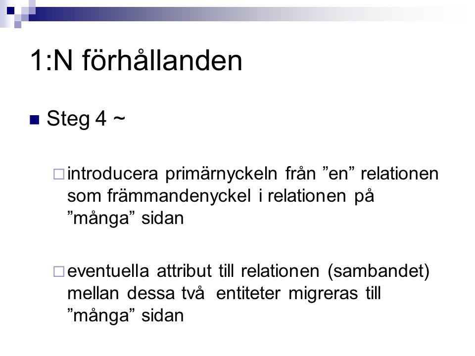 """1:N förhållanden Steg 4 ~  introducera primärnyckeln från """"en"""" relationen som främmandenyckel i relationen på """"många"""" sidan  eventuella attribut til"""