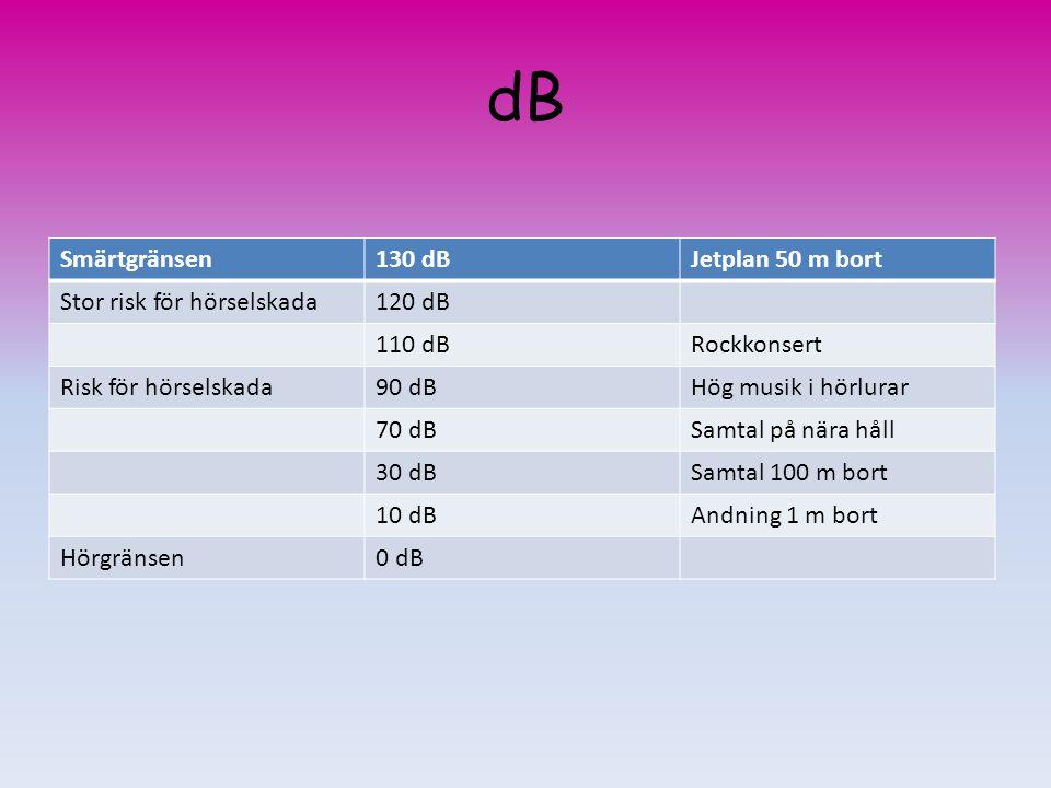 dB Smärtgränsen130 dBJetplan 50 m bort Stor risk för hörselskada120 dB 110 dBRockkonsert Risk för hörselskada90 dBHög musik i hörlurar 70 dBSamtal på