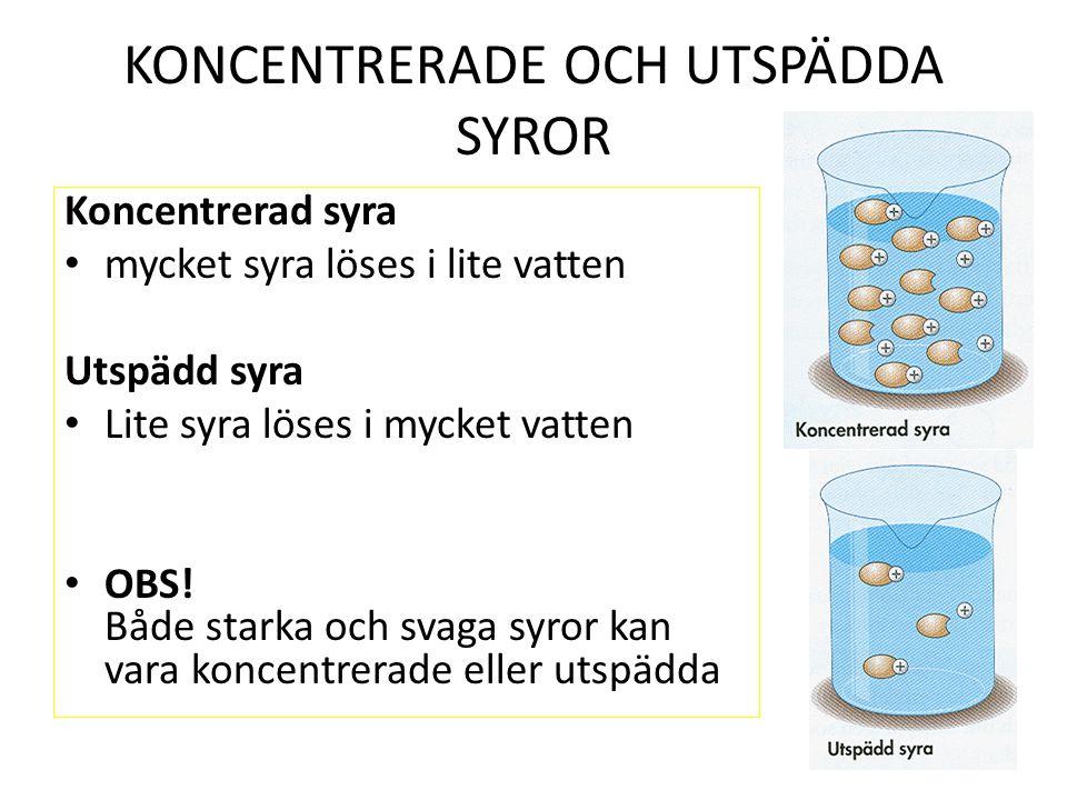 KONCENTRERADE OCH UTSPÄDDA SYROR Koncentrerad syra mycket syra löses i lite vatten Utspädd syra Lite syra löses i mycket vatten OBS.