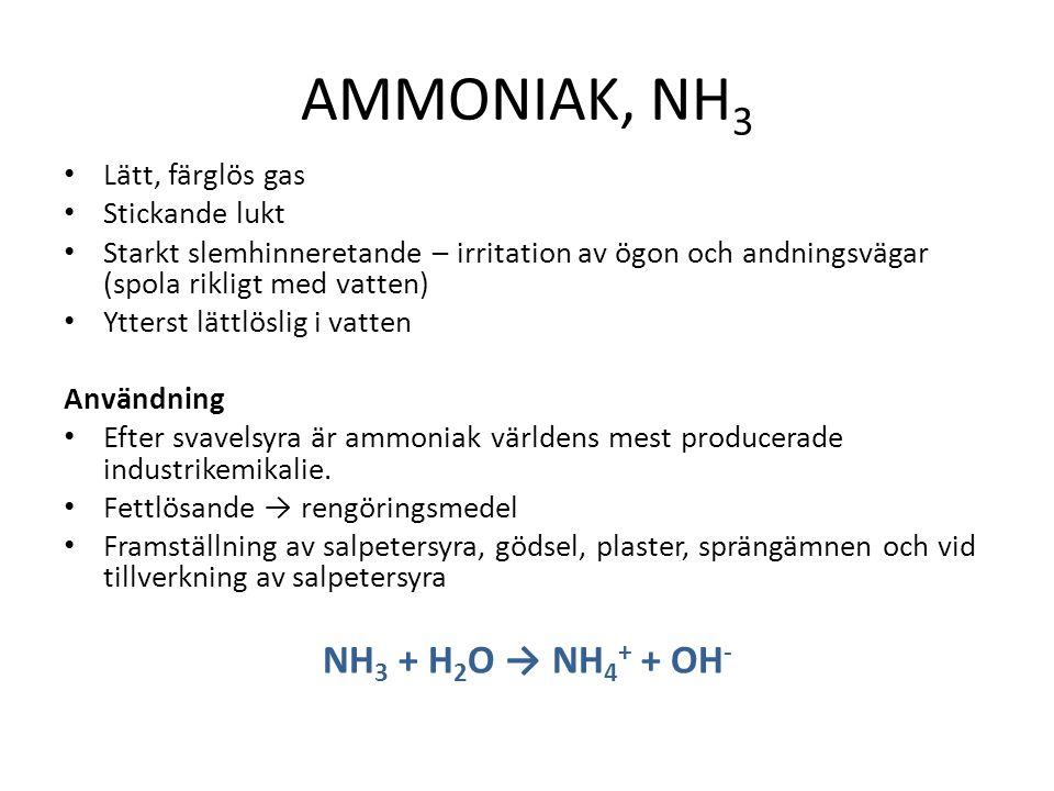 AMMONIAK, NH 3 Lätt, färglös gas Stickande lukt Starkt slemhinneretande – irritation av ögon och andningsvägar (spola rikligt med vatten) Ytterst lättlöslig i vatten Användning Efter svavelsyra är ammoniak världens mest producerade industrikemikalie.