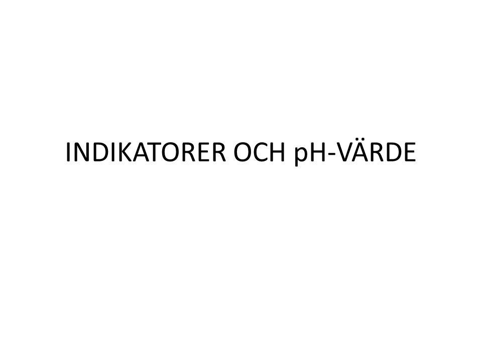 INDIKATORER OCH pH-VÄRDE