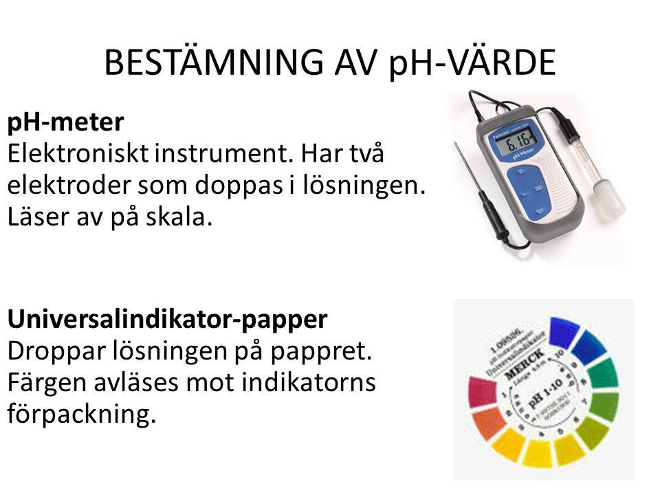 BESTÄMNING AV pH-VÄRDE pH-meter Elektroniskt instrument.