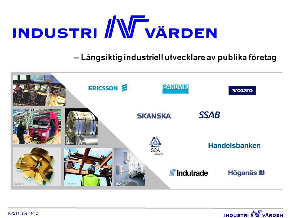 KV211_sve Nr 2 – Långsiktig industriell utvecklare av publika företag Ericsson Volvo Sandvik SSAB Skanska SCA