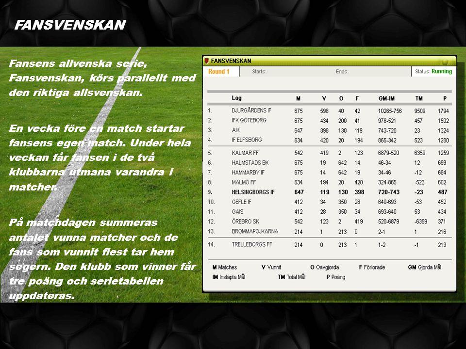 Fansens allvenska serie, Fansvenskan, körs parallellt med den riktiga allsvenskan.