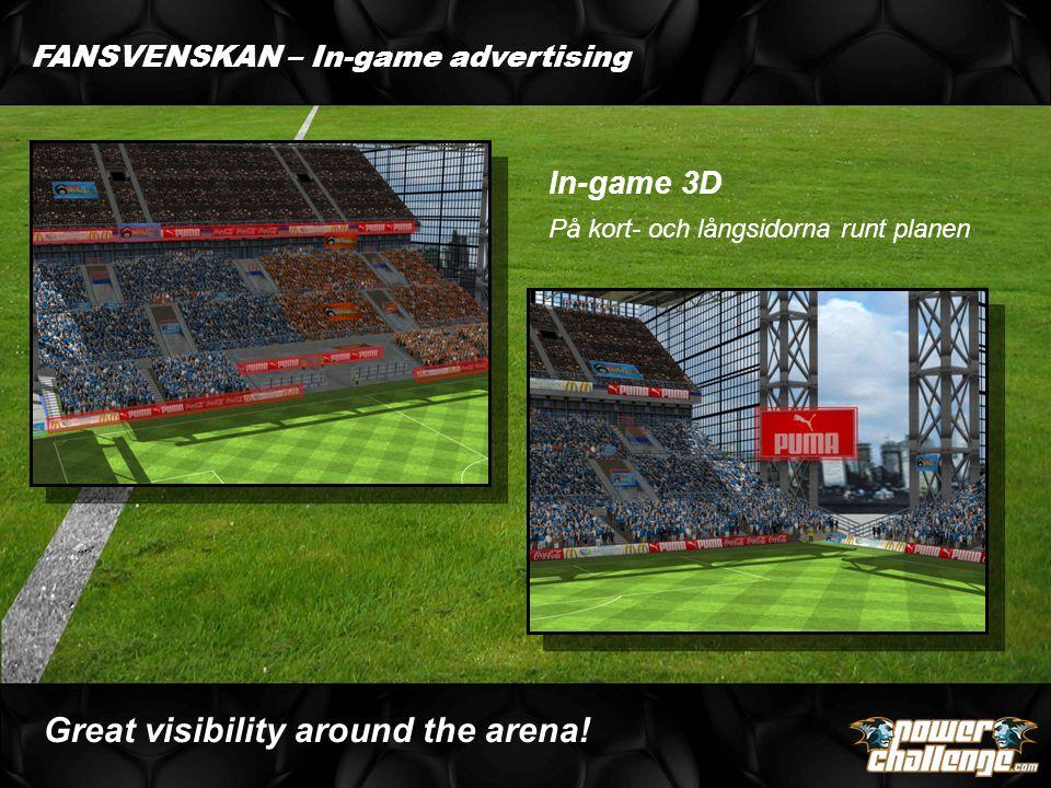 FANSVENSKAN – In-game advertising In-game 3D På kort- och långsidorna runt planen Great visibility around the arena!