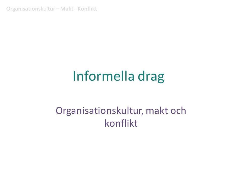 Organisationskultur Organisationskultur är ett mönster av grundläggande antaganden – uppfunnet, upptäckt eller utvecklat av en viss grupp efterhand som den lär sig bemästra sina problem med extern anpassning och intern integration – som lärs ut till nya medlemmar som det riktiga sättet att uppfatta, tänka och känna om dessa problem. (Schein 1985, s.9) Organisationskultur – Makt - Konflikt