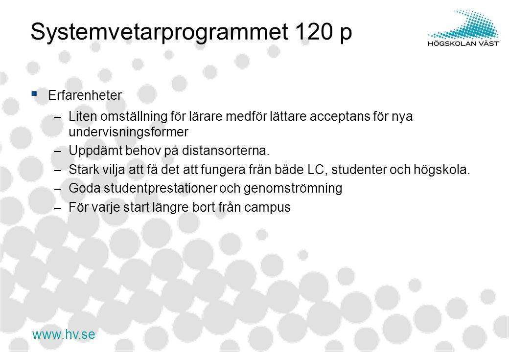 www.hv.se Systemvetarprogrammet 120 p  Erfarenheter –Liten omställning för lärare medför lättare acceptans för nya undervisningsformer –Uppdämt behov på distansorterna.