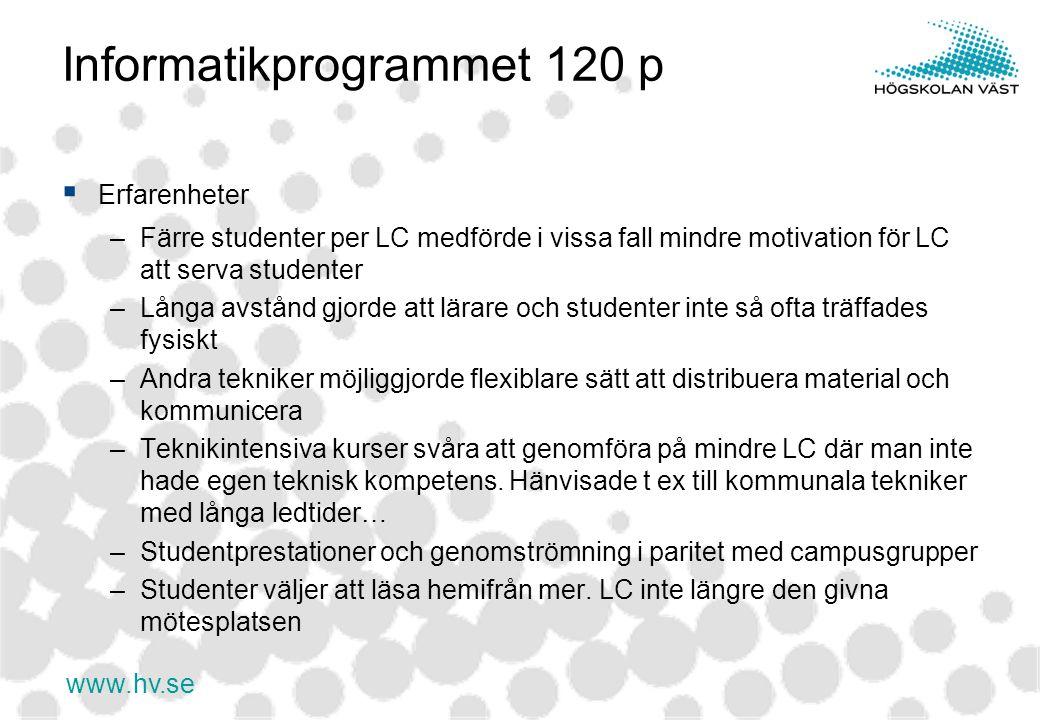 www.hv.se Informatikprogrammet 120 p  Erfarenheter –Färre studenter per LC medförde i vissa fall mindre motivation för LC att serva studenter –Långa