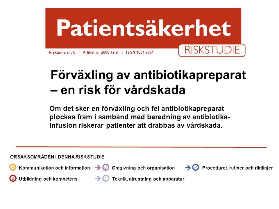 socialstyrelsen.se/patientsakerhet Om det sker en förväxling och fel antibiotikapreparat plockas fram i samband med beredning av antibiotika- infusion riskerar patienter att drabbas av vårdskada.