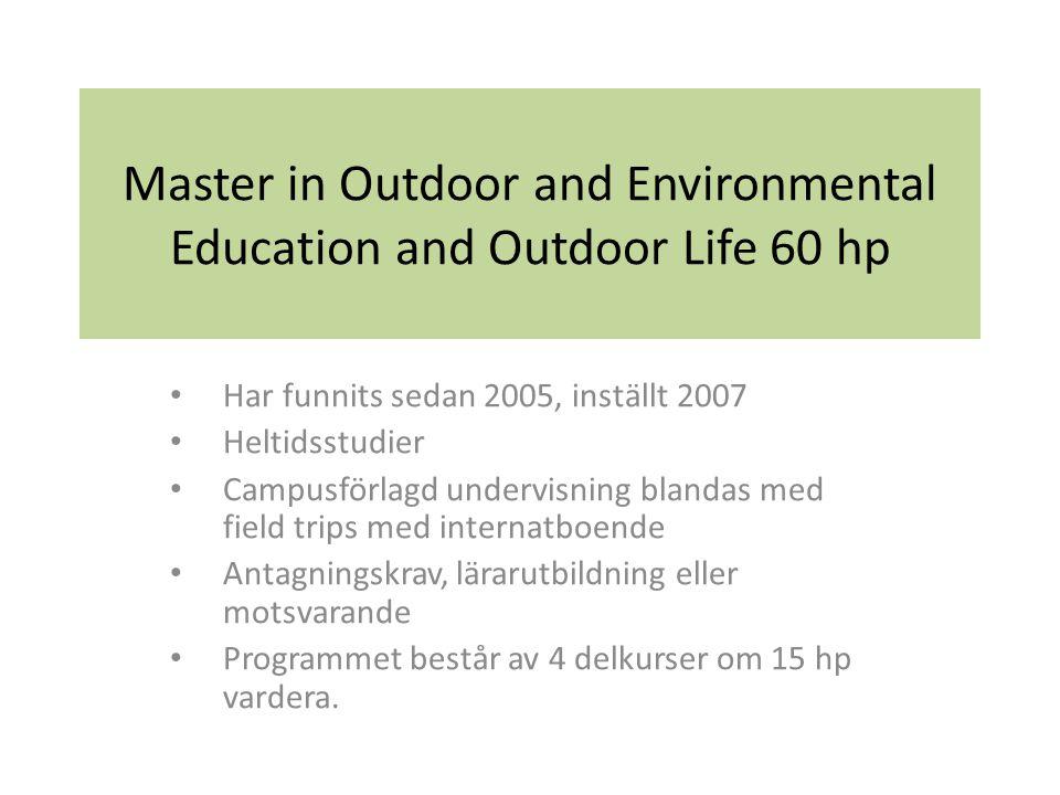 Master in Outdoor and Environmental Education and Outdoor Life 60 hp Har funnits sedan 2005, inställt 2007 Heltidsstudier Campusförlagd undervisning blandas med field trips med internatboende Antagningskrav, lärarutbildning eller motsvarande Programmet består av 4 delkurser om 15 hp vardera.