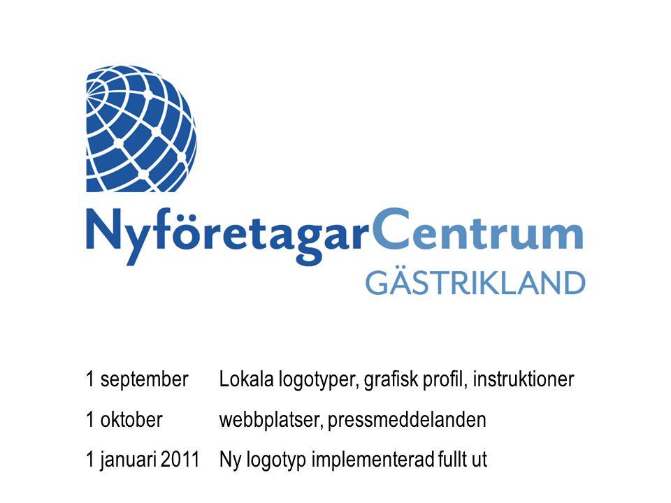 1 septemberLokala logotyper, grafisk profil, instruktioner 1 oktoberwebbplatser, pressmeddelanden 1 januari 2011Ny logotyp implementerad fullt ut