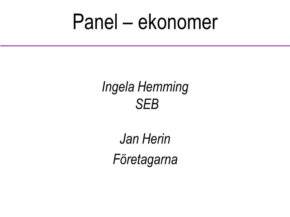 Panel – ekonomer Ingela Hemming SEB Jan Herin Företagarna