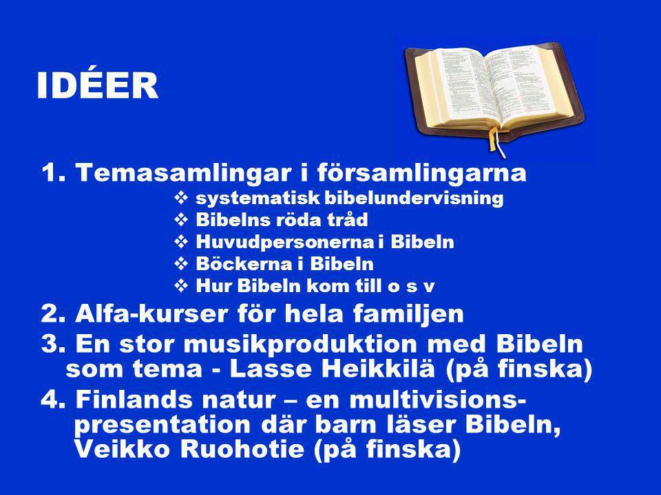 1. Temasamlingar i församlingarna  systematisk bibelundervisning  Bibelns röda tråd  Huvudpersonerna i Bibeln  Böckerna i Bibeln  Hur Bibeln kom