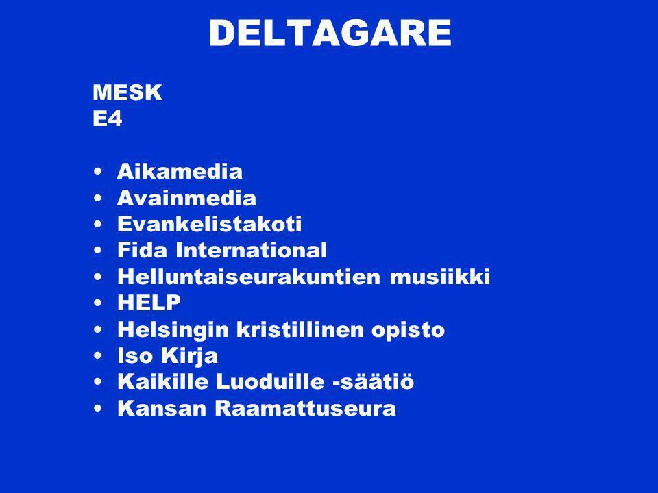DELTAGARE MESK E4 Aikamedia Avainmedia Evankelistakoti Fida International Helluntaiseurakuntien musiikki HELP Helsingin kristillinen opisto Iso Kirja Kaikille Luoduille -säätiö Kansan Raamattuseura