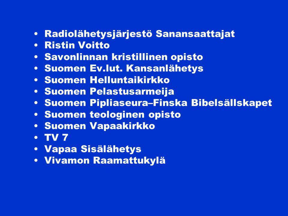 Radiolähetysjärjestö Sanansaattajat Ristin Voitto Savonlinnan kristillinen opisto Suomen Ev.lut.
