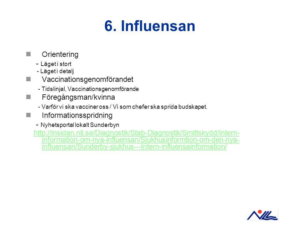 6. Influensan Orientering - Läget i stort - Läget i detalj Vaccinationsgenomförandet - Tidslinjal, Vaccinationsgenomförande Föregångsman/kvinna - Varf
