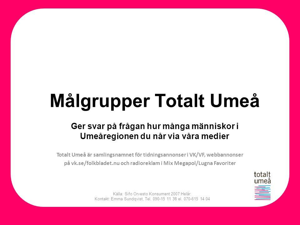 Målgrupper Totalt Umeå Ger svar på frågan hur många människor i Umeåregionen du når via våra medier Källa: Sifo Orvesto Konsument 2007:Helår. Kontakt:
