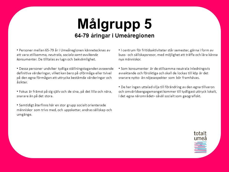 Målgrupp 5 64-79 åringar i Umeåregionen Personer mellan 65-79 år i Umeåregionen kännetecknas av att vara stillsamma, neutrala, sociala samt avvikande