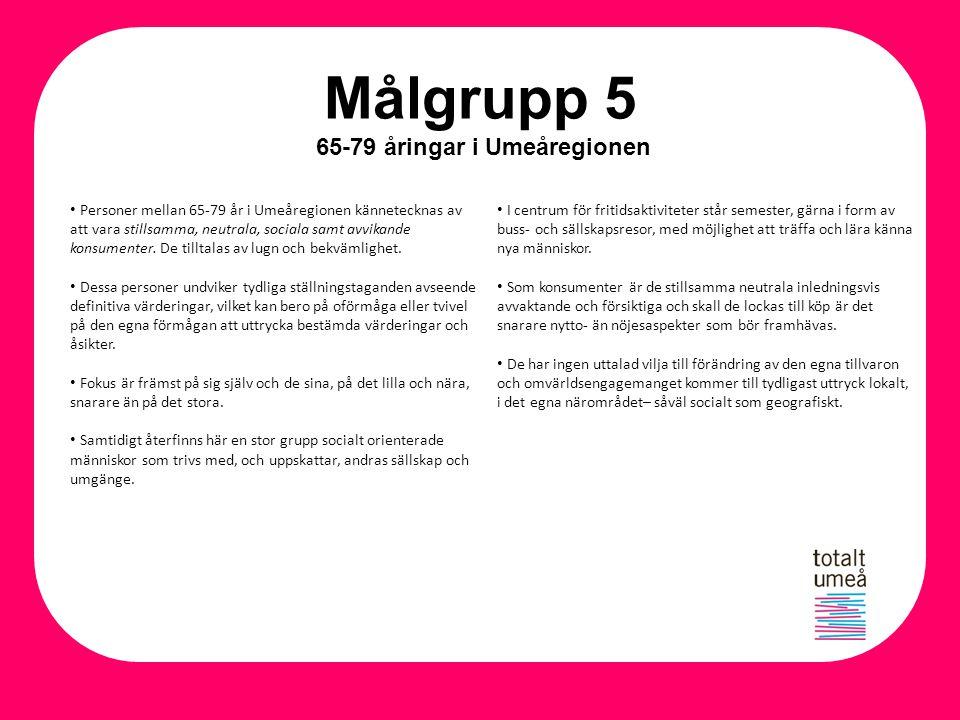 Målgrupp 5 65-79 åringar i Umeåregionen Personer mellan 65-79 år i Umeåregionen kännetecknas av att vara stillsamma, neutrala, sociala samt avvikande
