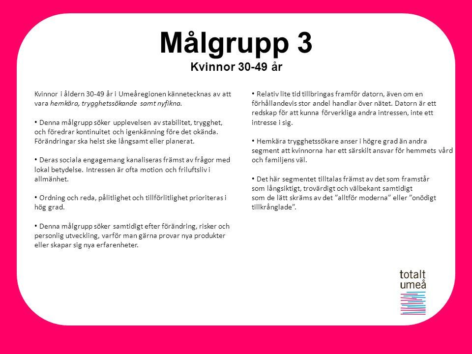 Målgrupp 3 Kvinnor 30-49 år Kvinnor i åldern 30-49 år i Umeåregionen kännetecknas av att vara hemkära, trygghetssökande samt nyfikna. Denna målgrupp s