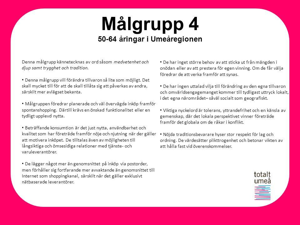 Målgrupp 4 50-64 åringar i Umeåregionen Denna målgrupp kännetecknas av ord såsom medvetenhet och djup samt trygghet och tradition. Denna målgrupp vill