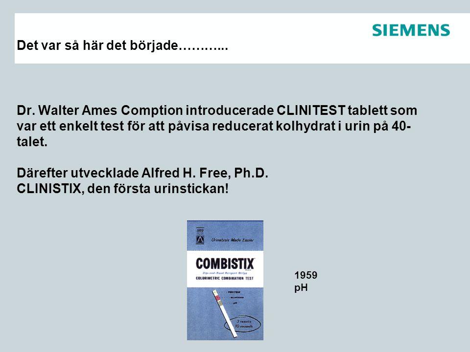 Det var så här det började………... Dr. Walter Ames Comption introducerade CLINITEST tablett som var ett enkelt test för att påvisa reducerat kolhydrat i